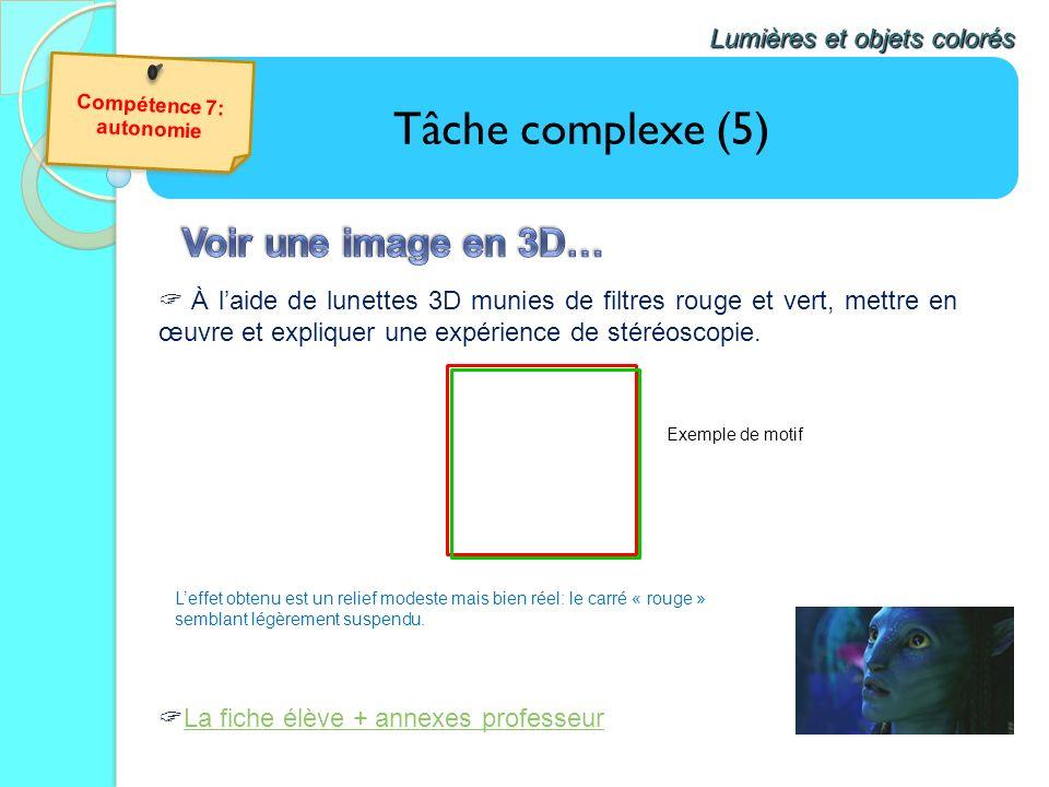 Tâche complexe (5) Lumières et objets colorés La fiche élève + annexes professeur À laide de lunettes 3D munies de filtres rouge et vert, mettre en œu