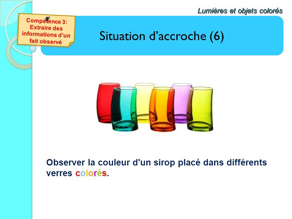 Situation daccroche (6) Lumières et objets colorés Observer la couleur d'un sirop placé dans différents verres colorés.