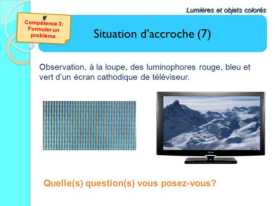 Situation daccroche (7) Lumières et objets colorés Quelle(s) question(s) vous posez-vous? Observation, à la loupe, des luminophores rouge, bleu et ver