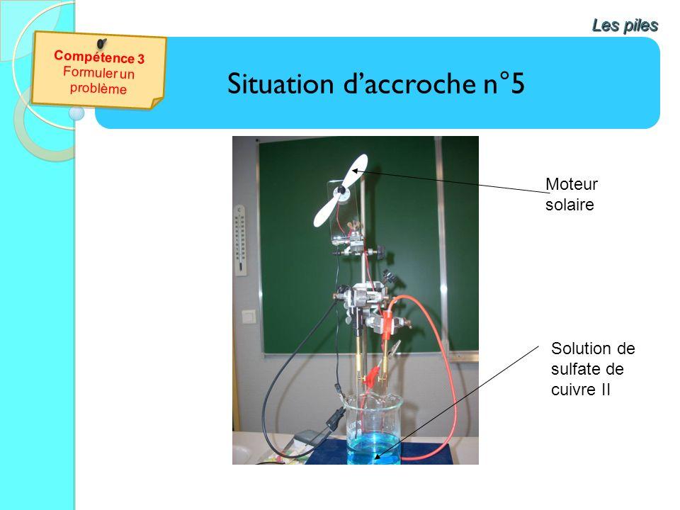Situation daccroche n°5 Les piles Solution de sulfate de cuivre II Moteur solaire