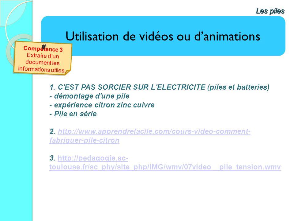 Utilisation de vidéos ou danimations Les piles 1. C'EST PAS SORCIER SUR L'ELECTRICITE (piles et batteries) - démontage d'une pile - expérience citron