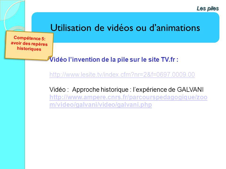 Utilisation de vidéos ou danimations Les piles Compétence 5: avoir des repères historiques Vidéo linvention de la pile sur le site TV.fr : http://www.