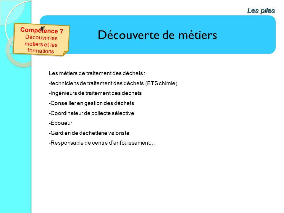 Découverte de métiers Les piles Les métiers de traitement des déchets : -techniciens de traitement des déchets (BTS chimie) -Ingénieurs de traitement