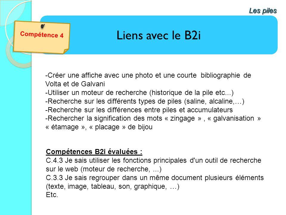 Liens avec le B2i Les piles -Créer une affiche avec une photo et une courte bibliographie de Volta et de Galvani -Utiliser un moteur de recherche (his