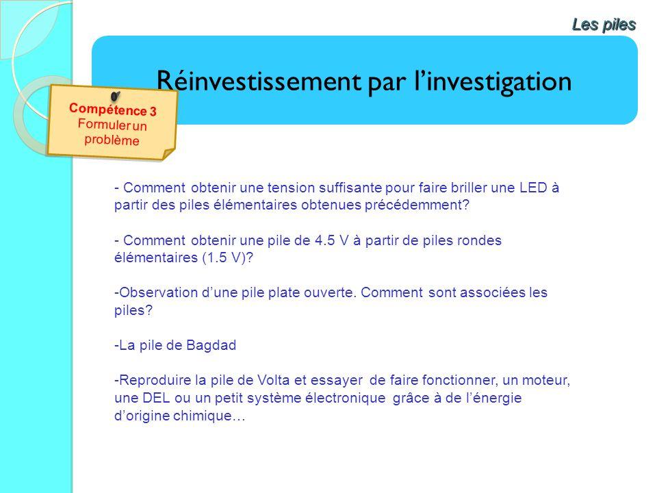 Réinvestissement par linvestigation Les piles - Comment obtenir une tension suffisante pour faire briller une LED à partir des piles élémentaires obte