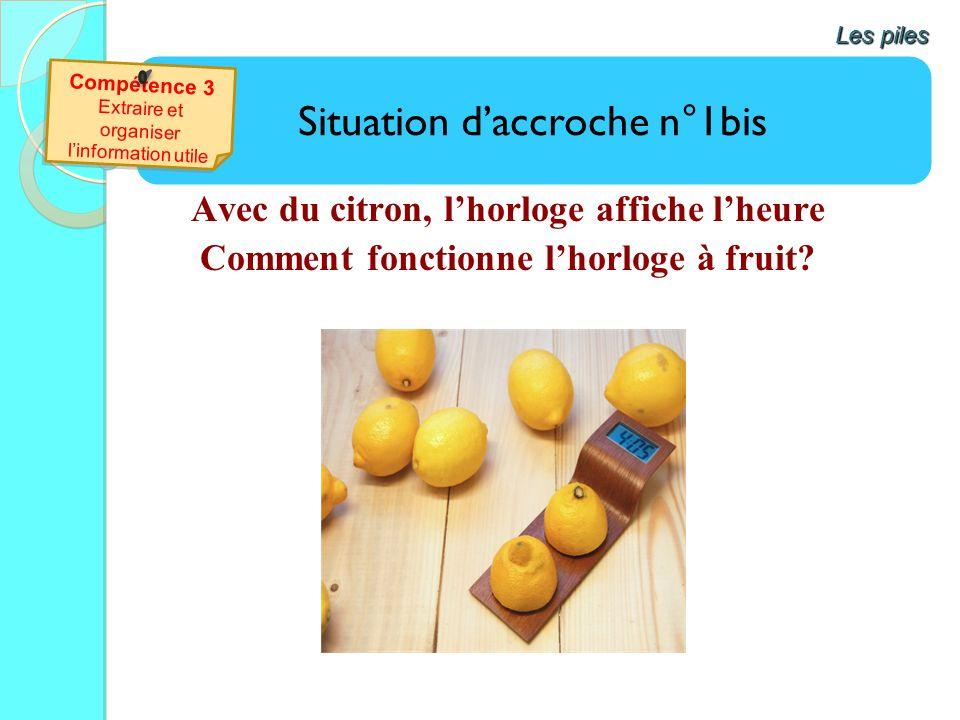 Avec du citron, lhorloge affiche lheure Comment fonctionne lhorloge à fruit? Situation daccroche n°1bis Les piles