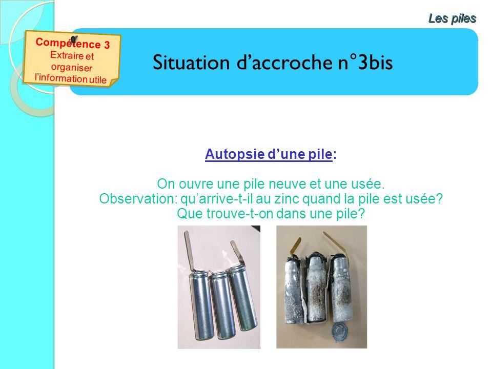 Situation daccroche n°3bis Autopsie dune pile: On ouvre une pile neuve et une usée. Observation: quarrive-t-il au zinc quand la pile est usée? Que tro