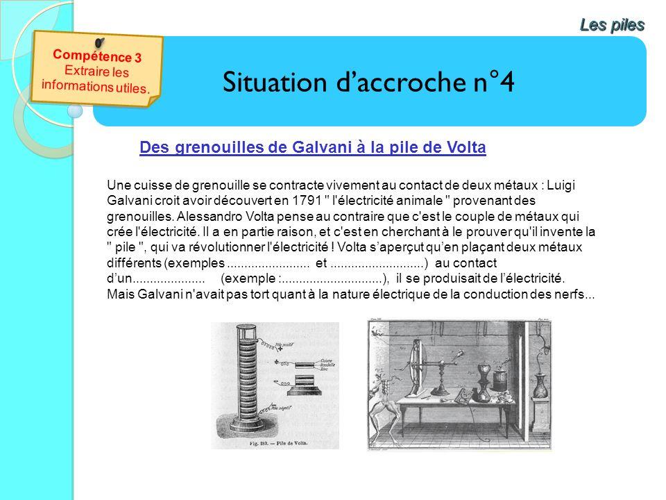 Situation daccroche n°4bis Les piles Vidéo : Approche historique : lexpérience de GALVANI http://www.ampere.cnrs.fr/parcourspedagogique/zoom/video/galvani/video/galvani.php Que se passe-t-il si on stimule le nerf dune cuisse de grenouille avec une machine électrique .