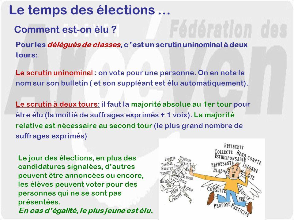 Comment est-on élu ? Pour les délégués de classes, c est un scrutin uninominal à deux tours: Le scrutin uninominal : on vote pour une personne. On en
