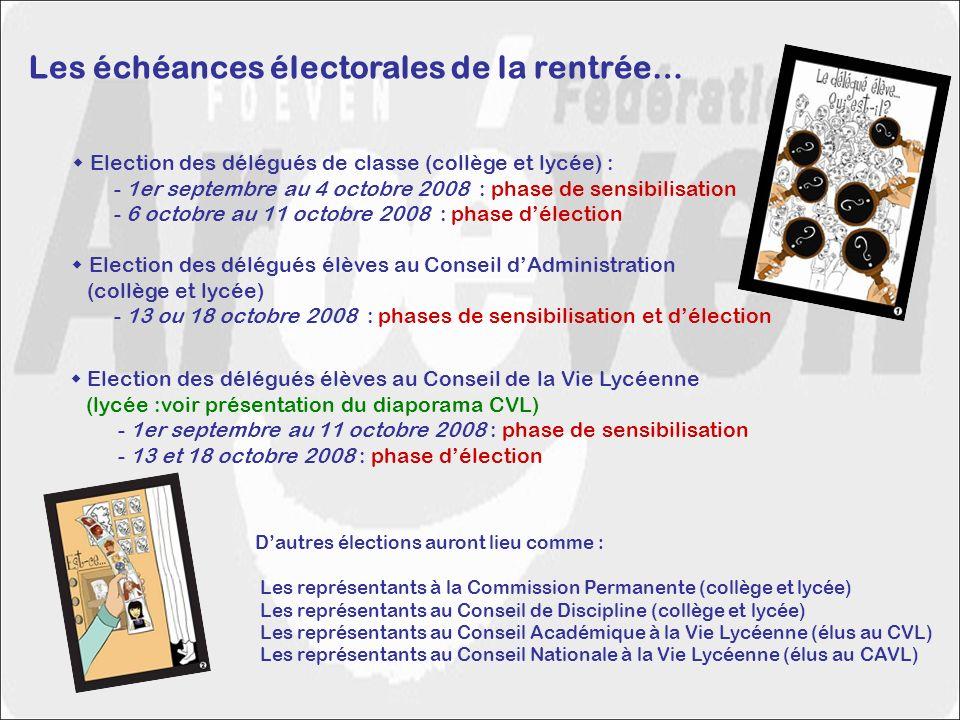 Les échéances électorales de la rentrée… Election des délégués de classe (collège et lycée) : - 1er septembre au 4 octobre 2008 : phase de sensibilisa