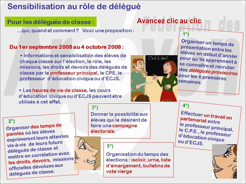 Sensibilisation au rôle de délégué Du 1er septembre 2008 au 4 octobre 2008 : Les heures de vie de classe, les cours déducation civique ou dECJS peuven