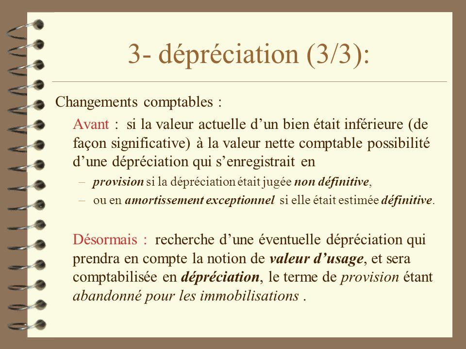 3- dépréciation (3/3): Changements comptables : Avant : si la valeur actuelle dun bien était inférieure (de façon significative) à la valeur nette com