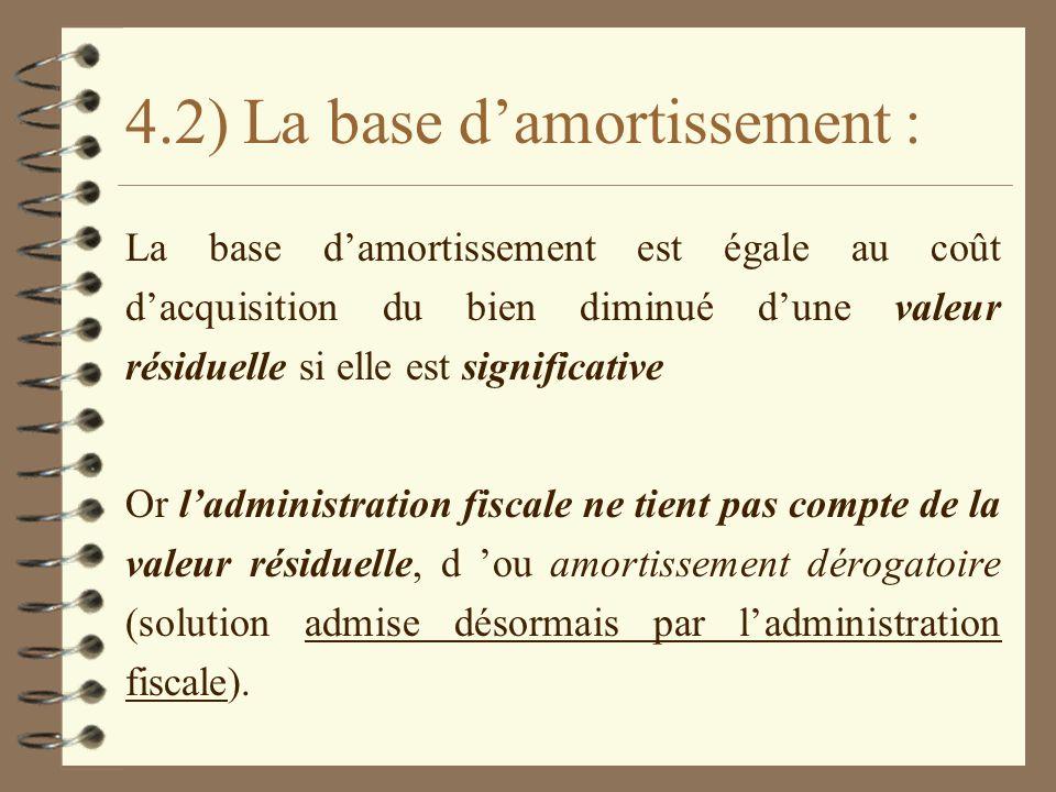 4.2) La base damortissement : La base damortissement est égale au coût dacquisition du bien diminué dune valeur résiduelle si elle est significative O