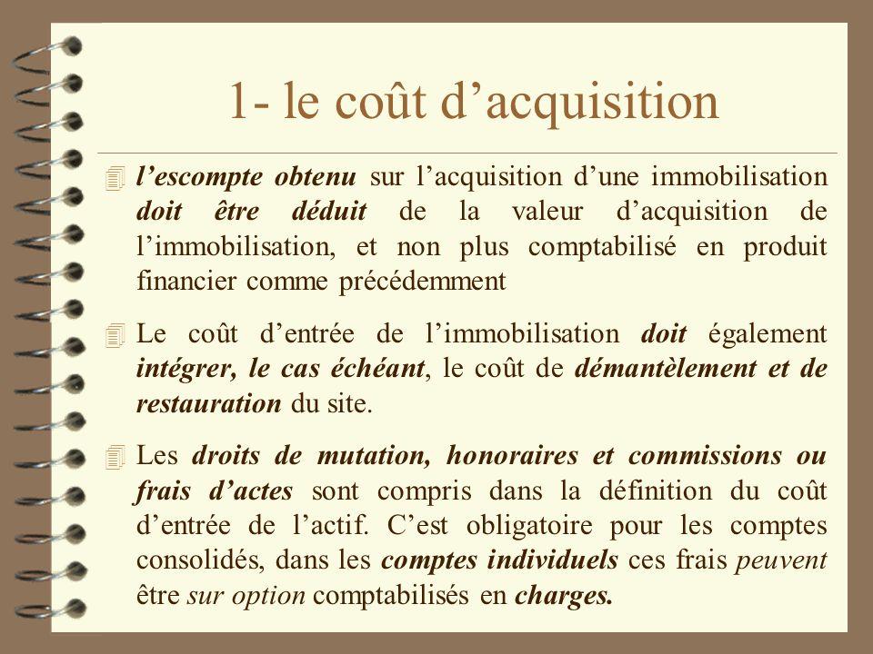 1- le coût dacquisition 4 lescompte obtenu sur lacquisition dune immobilisation doit être déduit de la valeur dacquisition de limmobilisation, et non