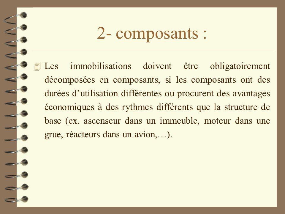 2- composants : 4 Les immobilisations doivent être obligatoirement décomposées en composants, si les composants ont des durées dutilisation différente