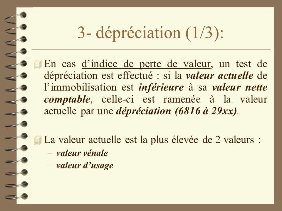 3- dépréciation (1/3): 4 En cas dindice de perte de valeur, un test de dépréciation est effectué : si la valeur actuelle de limmobilisation est inféri