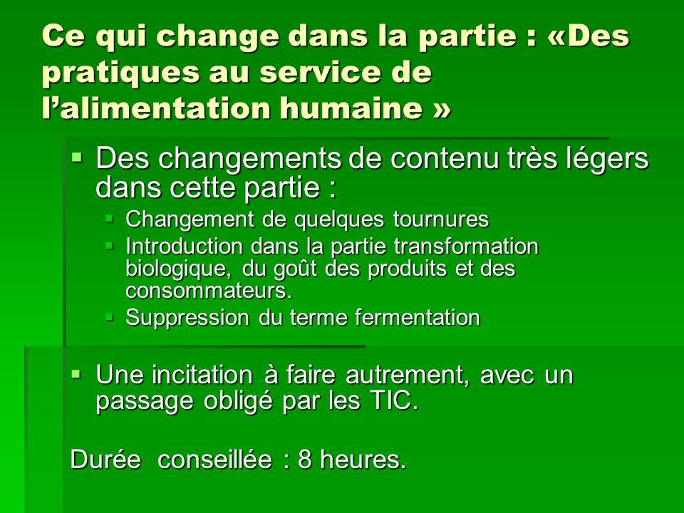 Ce qui change dans la partie : «Des pratiques au service de lalimentation humaine » Des changements de contenu très légers dans cette partie : Des cha