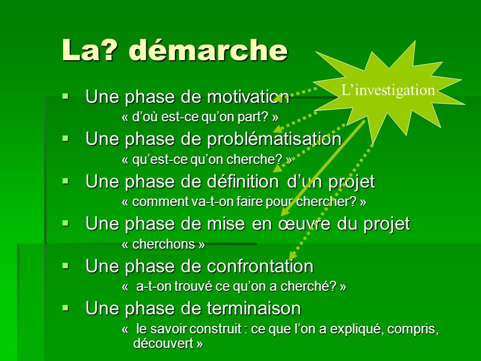 La? démarche Une phase de motivation Une phase de motivation « doù est-ce quon part? » Une phase de problématisation Une phase de problématisation « q