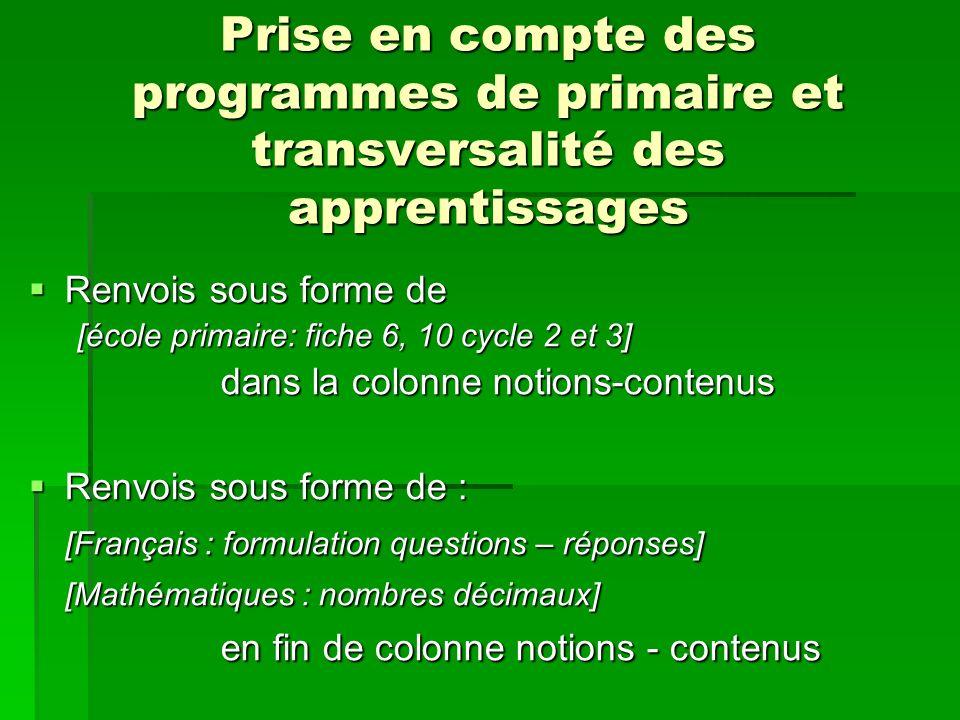 Prise en compte des programmes de primaire et transversalité des apprentissages Renvois sous forme de Renvois sous forme de [école primaire: fiche 6,