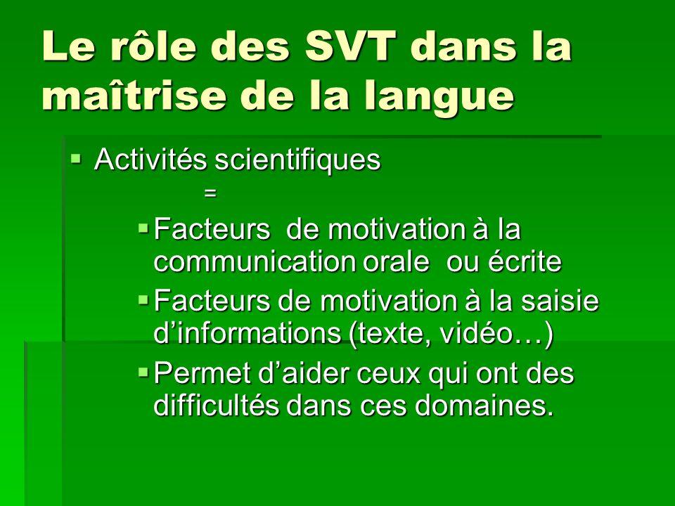 Le rôle des SVT dans la maîtrise de la langue Activités scientifiques Activités scientifiques= Facteurs de motivation à la communication orale ou écri