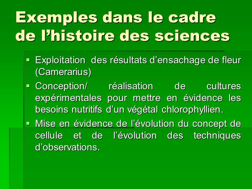 Exemples dans le cadre de lhistoire des sciences Exploitation des résultats densachage de fleur (Camerarius) Exploitation des résultats densachage de