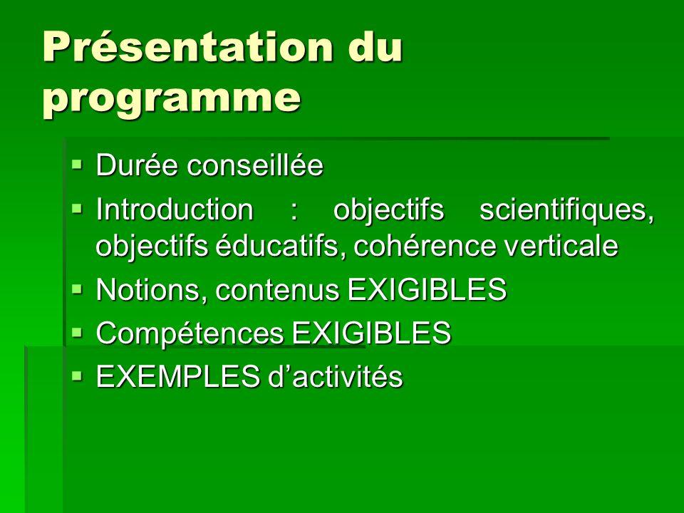 Présentation du programme Durée conseillée Durée conseillée Introduction : objectifs scientifiques, objectifs éducatifs, cohérence verticale Introduct