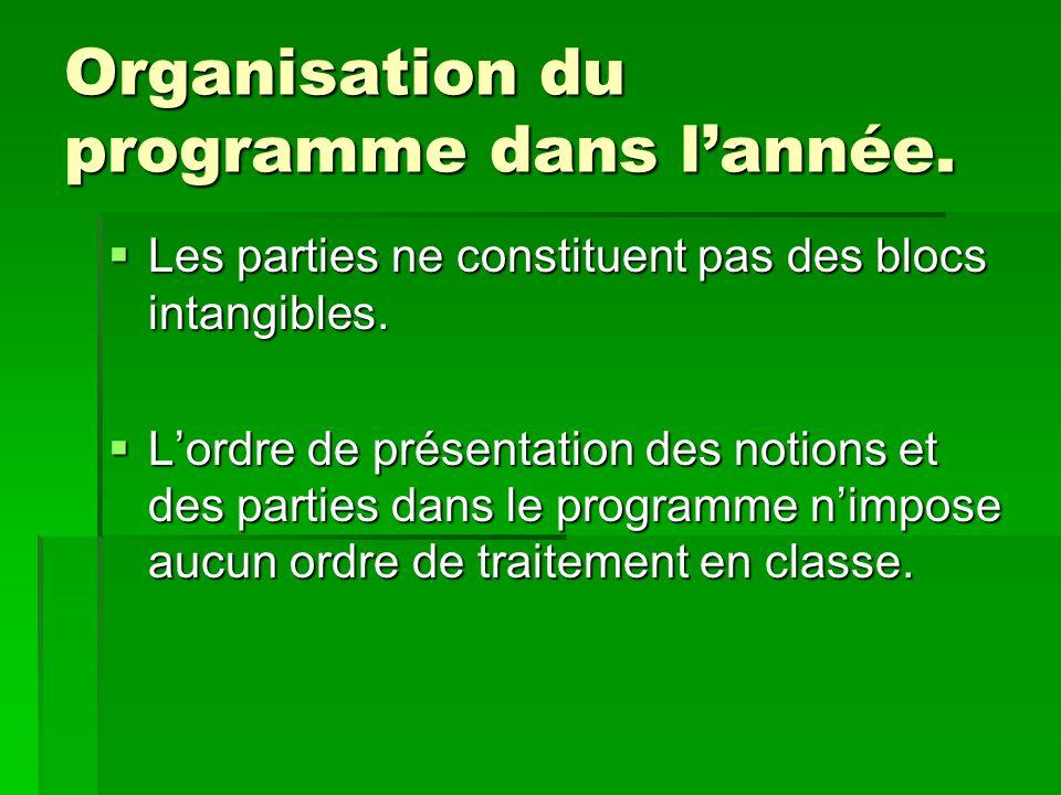 Organisation du programme dans lannée. Les parties ne constituent pas des blocs intangibles. Les parties ne constituent pas des blocs intangibles. Lor