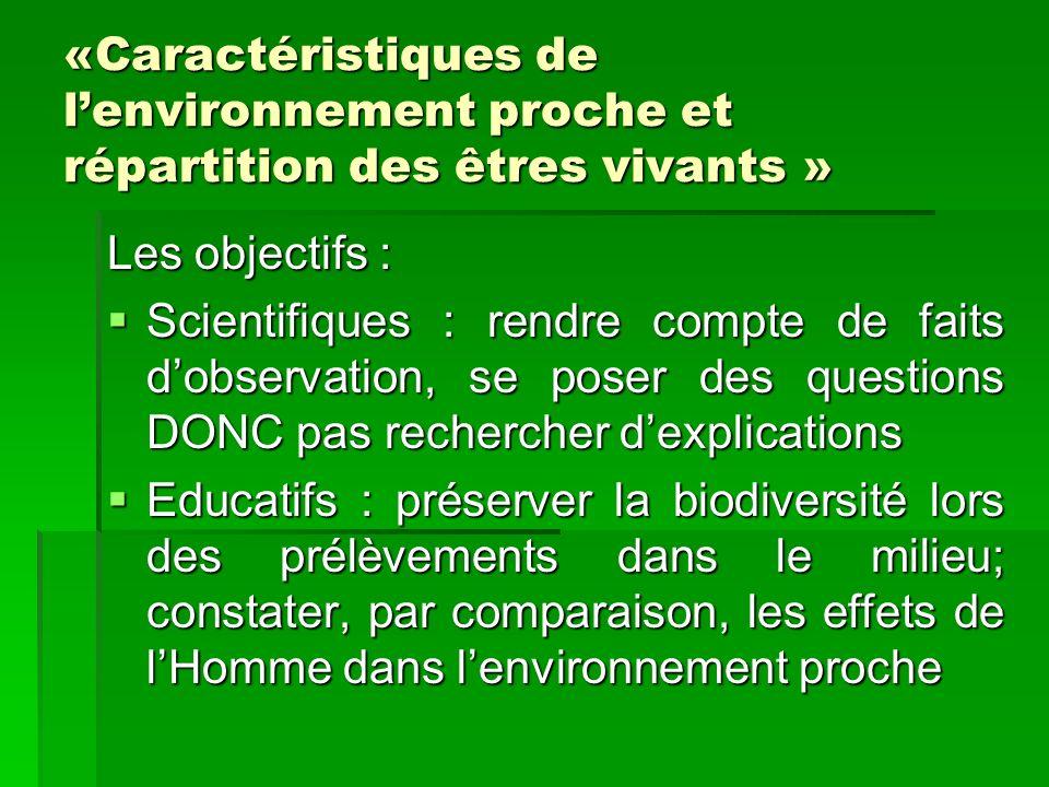 «Caractéristiques de lenvironnement proche et répartition des êtres vivants » Les objectifs : Scientifiques : rendre compte de faits dobservation, se