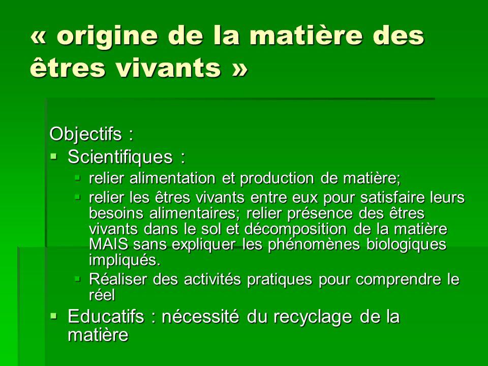 « origine de la matière des êtres vivants » Objectifs : Scientifiques : Scientifiques : relier alimentation et production de matière; relier alimentat