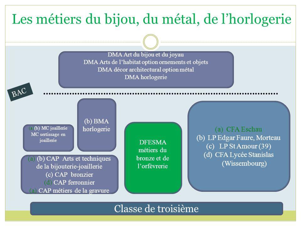 Classe de troisième (a) (b) CAP Arts et techniques de la bijouterie-joaillerie (c) CAP bronzier (d) CAP ferronnier (a) CAP métiers de la gravure (b) B