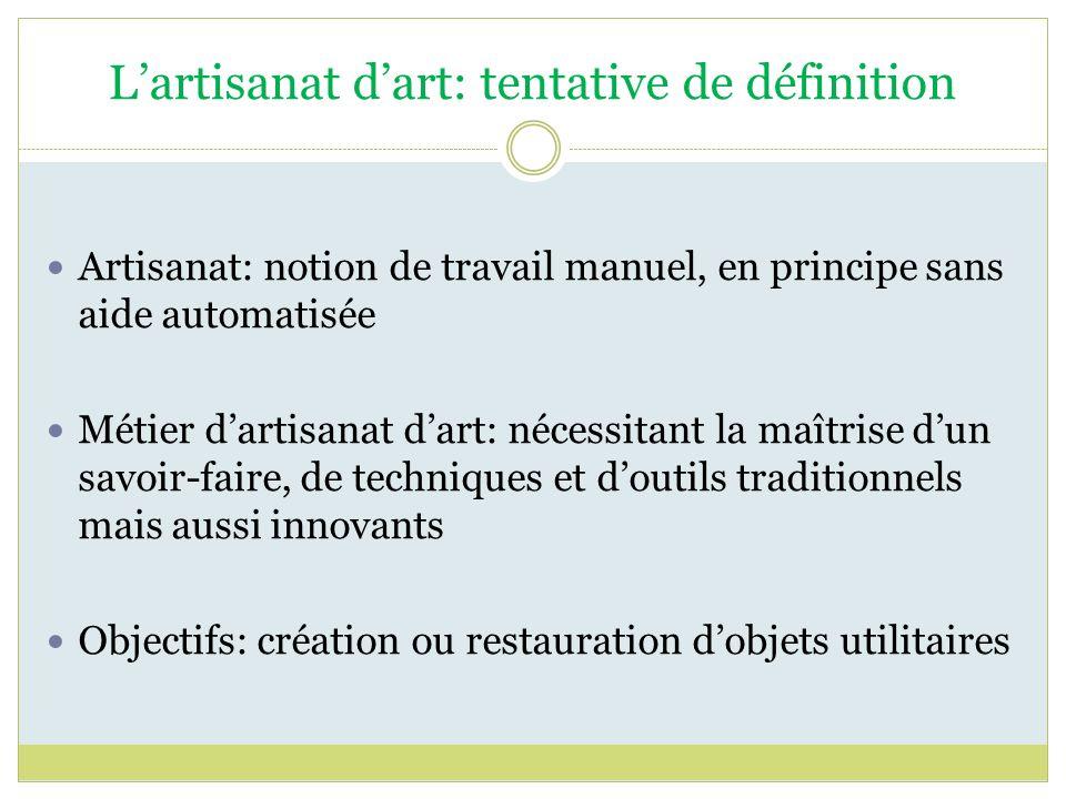 Lartisanat dart: tentative de définition Artisanat: notion de travail manuel, en principe sans aide automatisée Métier dartisanat dart: nécessitant la
