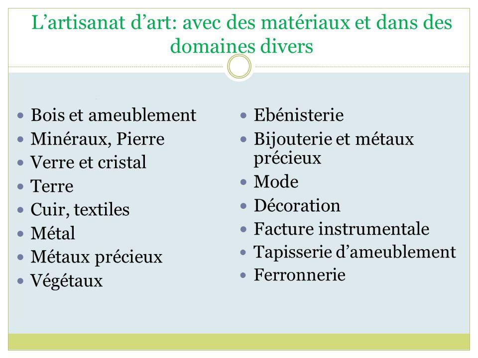 Lartisanat dart: avec des matériaux et dans des domaines divers Bois et ameublement Minéraux, Pierre Verre et cristal Terre Cuir, textiles Métal Métau