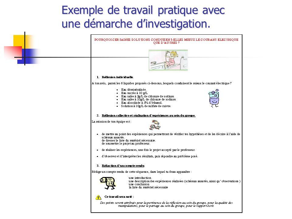 Exemple de travail pratique avec une démarche dinvestigation Exemple de travail pratique avec une démarche dinvestigation.