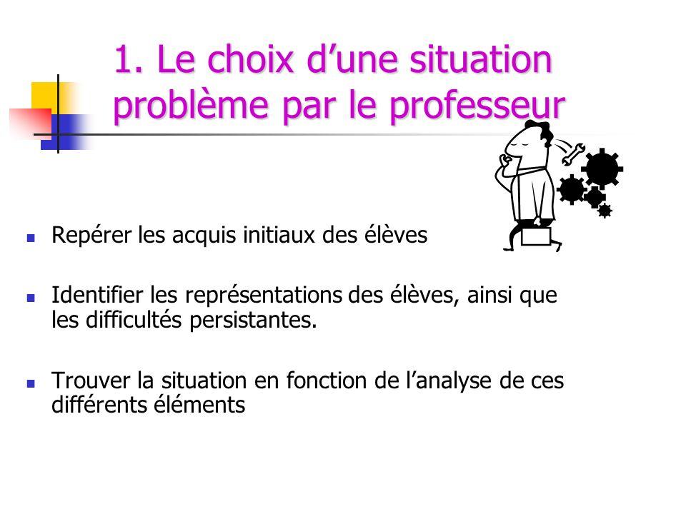 1. Le choix dune situation problème par le professeur Repérer les acquis initiaux des élèves Identifier les représentations des élèves, ainsi que les