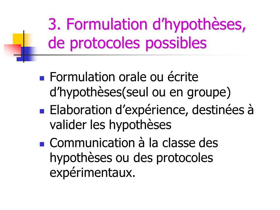 3. Formulation dhypothèses, de protocoles possibles Formulation orale ou écrite dhypothèses(seul ou en groupe) Elaboration dexpérience, destinées à va