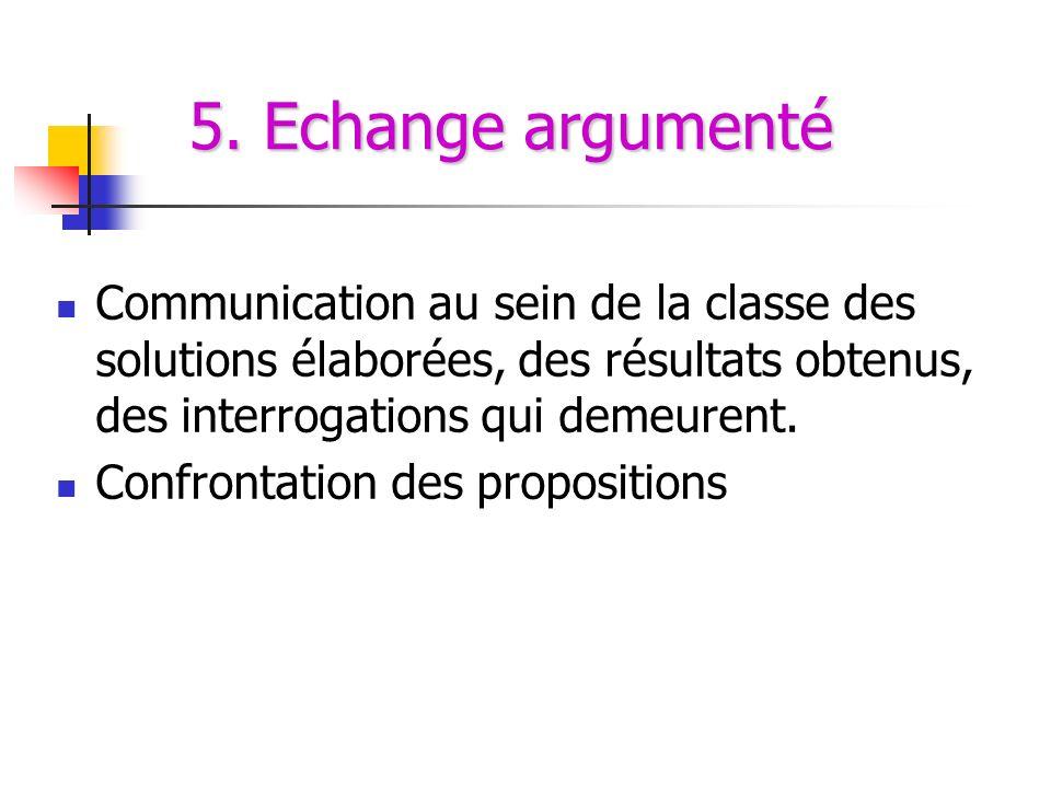 5. Echange argumenté Communication au sein de la classe des solutions élaborées, des résultats obtenus, des interrogations qui demeurent. Confrontatio