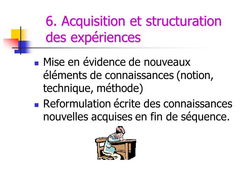 6. Acquisition et structuration des expériences Mise en évidence de nouveaux éléments de connaissances (notion, technique, méthode) Reformulation écri