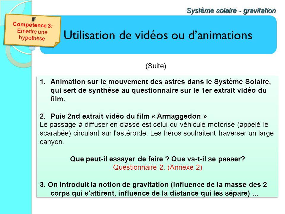 Utilisation de vidéos ou danimations Système solaire - gravitation 1.Animation sur le mouvement des astres dans le Système Solaire, qui sert de synthè