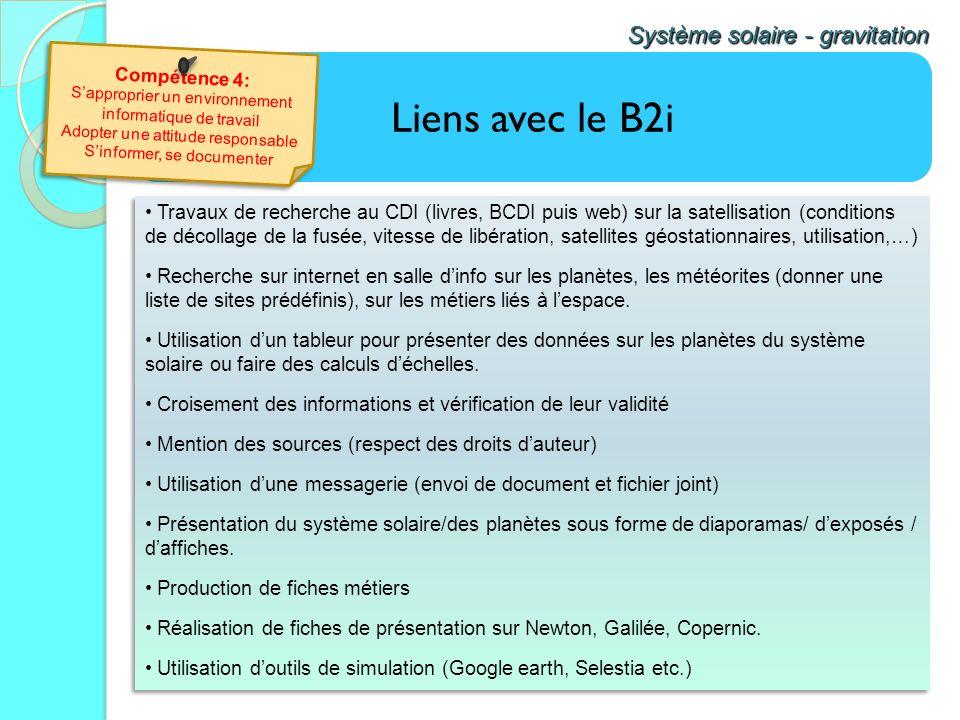 Liens avec le B2i Système solaire - gravitation Travaux de recherche au CDI (livres, BCDI puis web) sur la satellisation (conditions de décollage de l