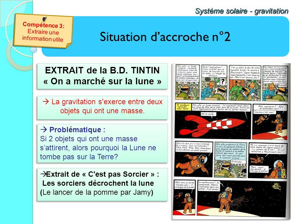 Situation daccroche n°2 Système solaire - gravitation Compétence 3: Extraire une information utile Compétence 3: Extraire une information utile EXTRAI