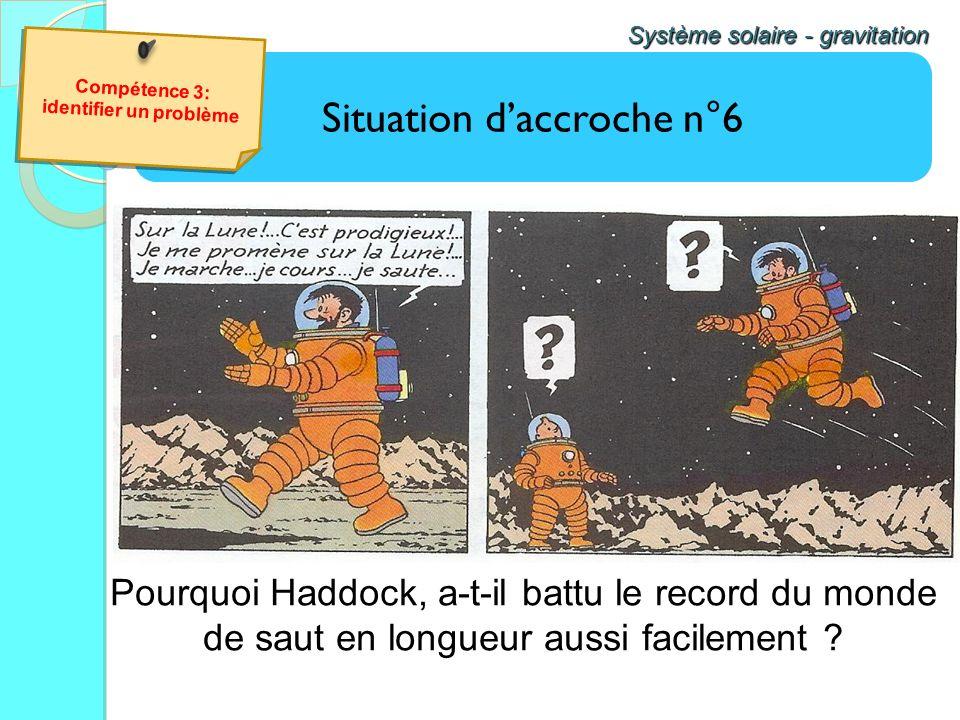 Situation daccroche n°6 Système solaire - gravitation Pourquoi Haddock, a-t-il battu le record du monde de saut en longueur aussi facilement ? Compéte