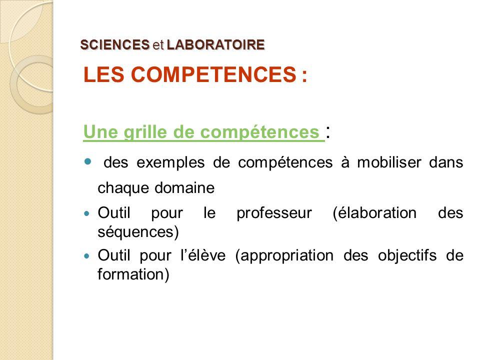 SCIENCES et LABORATOIRE LES COMPETENCES : Une grille de compétences Une grille de compétences : des exemples de compétences à mobiliser dans chaque do