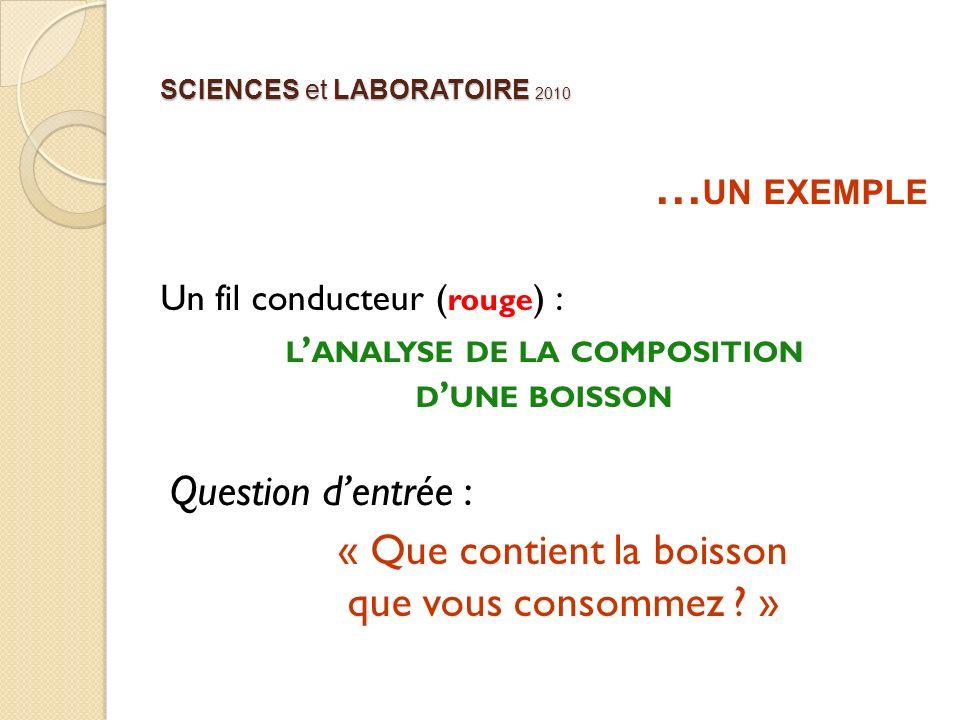 SCIENCES et LABORATOIRE 2010 … UN EXEMPLE Un fil conducteur ( rouge ) : L ANALYSE DE LA COMPOSITION D UNE BOISSON Question dentrée : « Que contient la