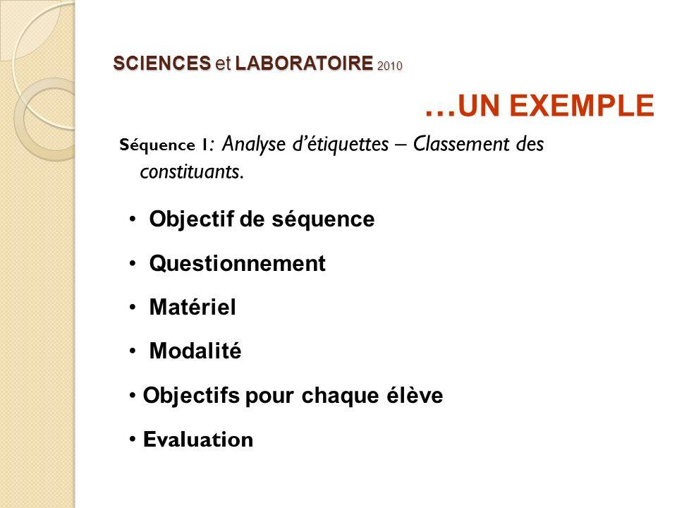 SCIENCES et LABORATOIRE 2010 … UN EXEMPLE Séquence 1 : Analyse détiquettes – Classement des constituants. Objectif de séquence Questionnement Matériel
