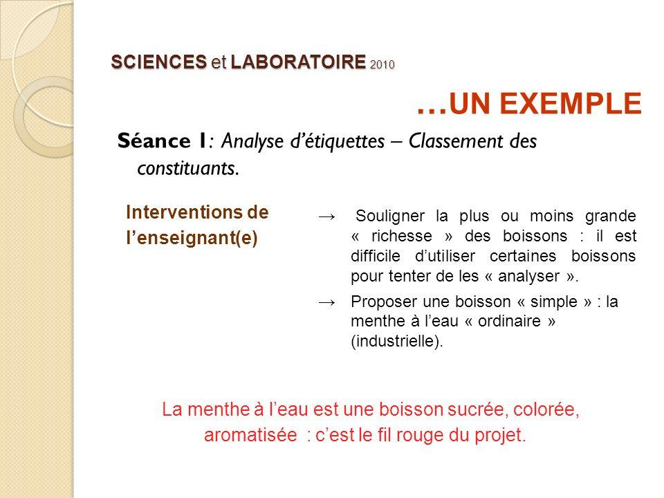 SCIENCES et LABORATOIRE 2010 … UN EXEMPLE Séance 1: Analyse détiquettes – Classement des constituants. Interventions de lenseignant(e) Souligner la pl