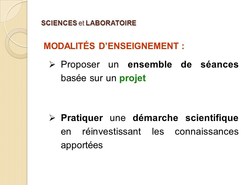 SCIENCES et LABORATOIRE MODALITÉS DENSEIGNEMENT : Proposer un ensemble de séances basée sur un projet Pratiquer une démarche scientifique en réinvesti