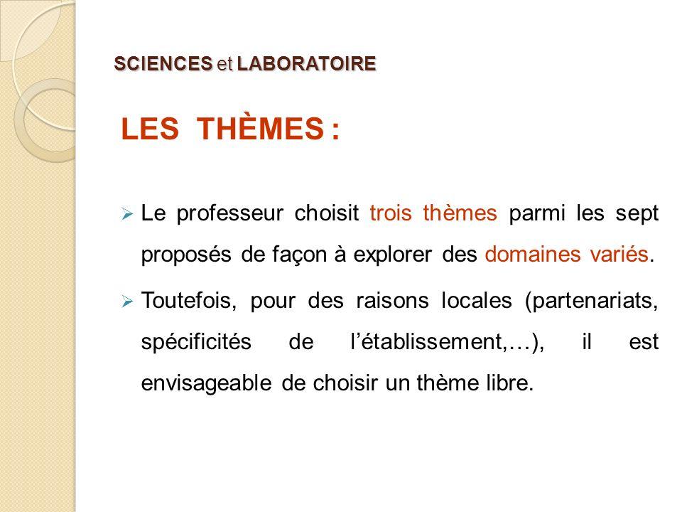 SCIENCES et LABORATOIRE LES THÈMES : Le professeur choisit trois thèmes parmi les sept proposés de façon à explorer des domaines variés. Toutefois, po