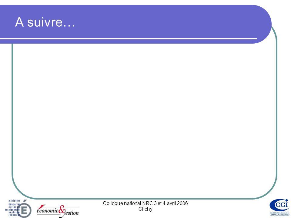 Colloque national NRC 3 et 4 avril 2006 Clichy En conclusion… Les ambitions….plus de 80 pistes de progrès Projets et partenariats : 45% des propositions de progrès .