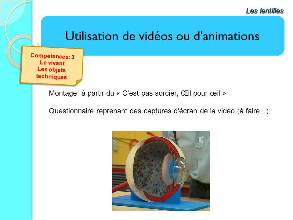 Utilisation de vidéos ou danimations Les lentilles Montage à partir du « Cest pas sorcier, Œil pour œil » Questionnaire reprenant des captures décran