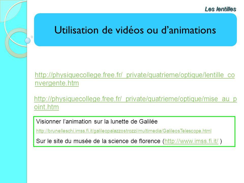 Utilisation de vidéos ou danimations Les lentilles http://physiquecollege.free.fr/_private/quatrieme/optique/lentille_co nvergente.htm http://physique